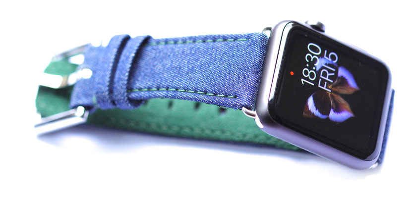 Jeans Denim apple watch strap 42mm 24mm with fixed buckle