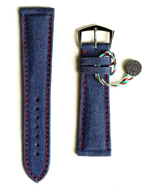 Denim Jeans watch strap for Rlex Patek red stitching lining Alcantara