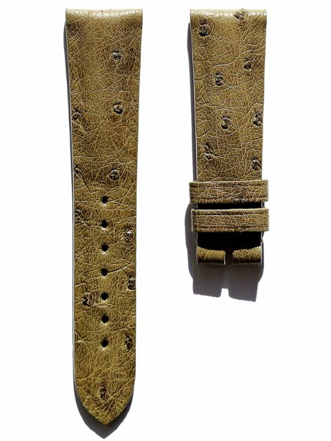 Green Exotic Ostrich leather watch strap custom made in Italy by Visconti Milano