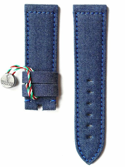 Panerai watch strap replacement 24mm in Blue Jeans Denim