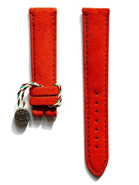 Classic Red Italian Alcantara watch strap 20mm with blue stiching and rubberized leather lining