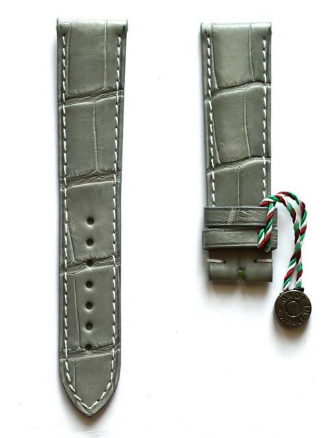 Alligator leather wrist watch strap made Italy Visconti Milano 20mm grey matte