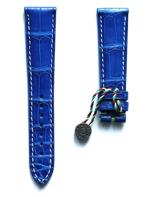 Alligator leather wrist watch strap made Italy Visconti Milano 20mm blue electric matte