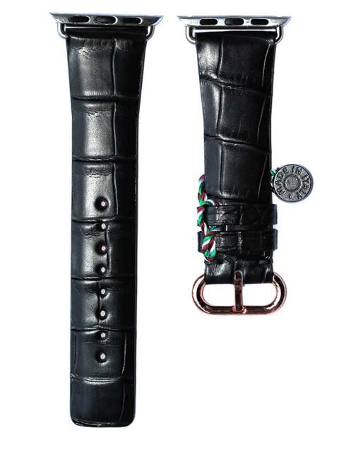 Black matte alligator leather apple watch strap 42mm