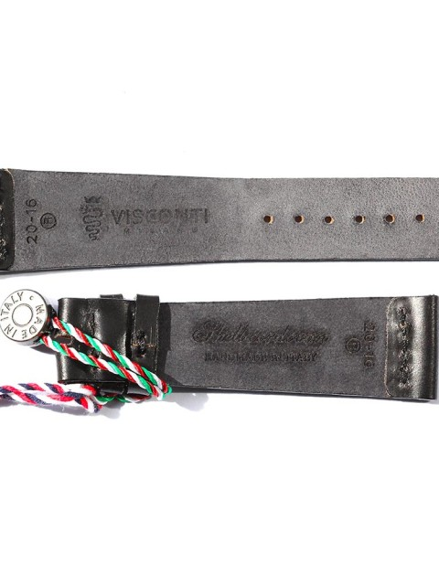 Black Shell Cordovan leather watch strap slim