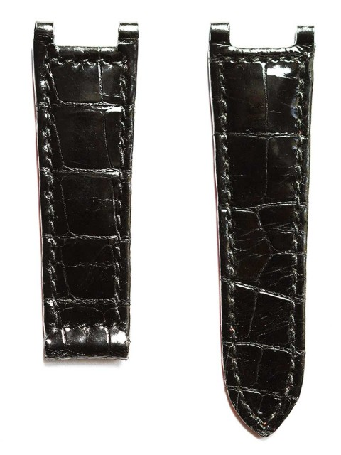 Black shiny alligator watch strap for Cartier Tank style timepieces