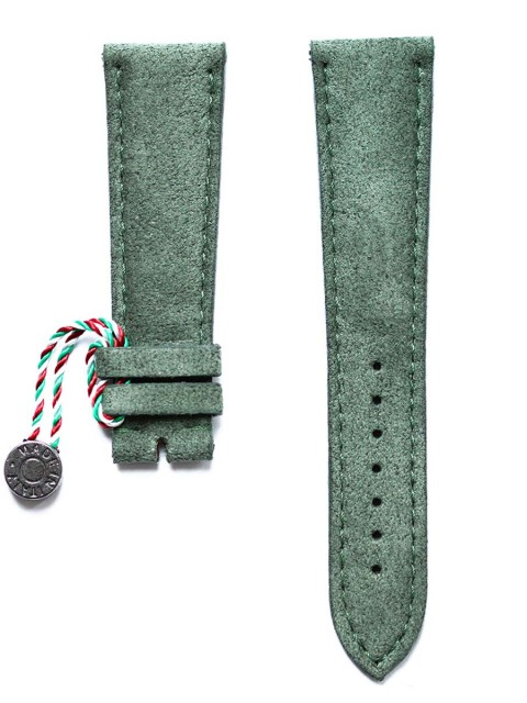 Marble Green Italian Alcantara watch strap with blue stiching and rubberized leather lining