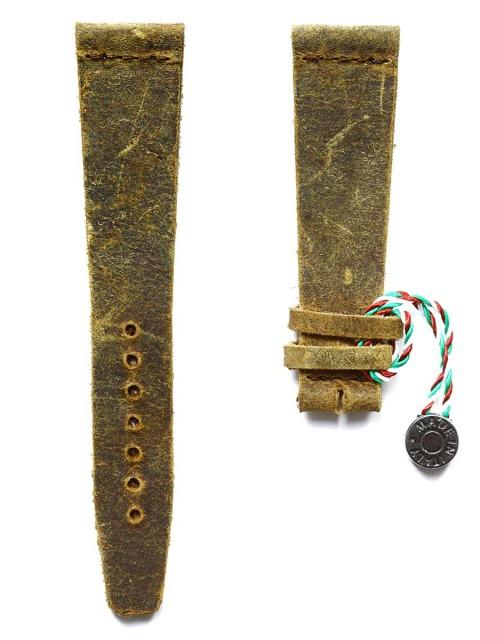 Mohawk Vintage leather watch strap slim teak