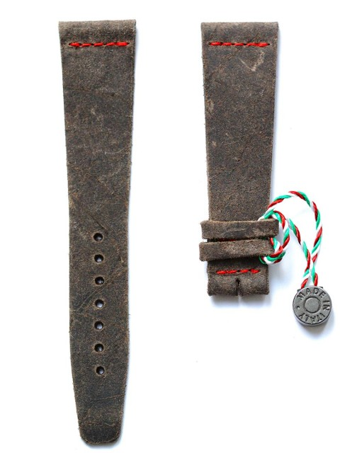 Mohawk Vintage leather watch strap slim winter smoke