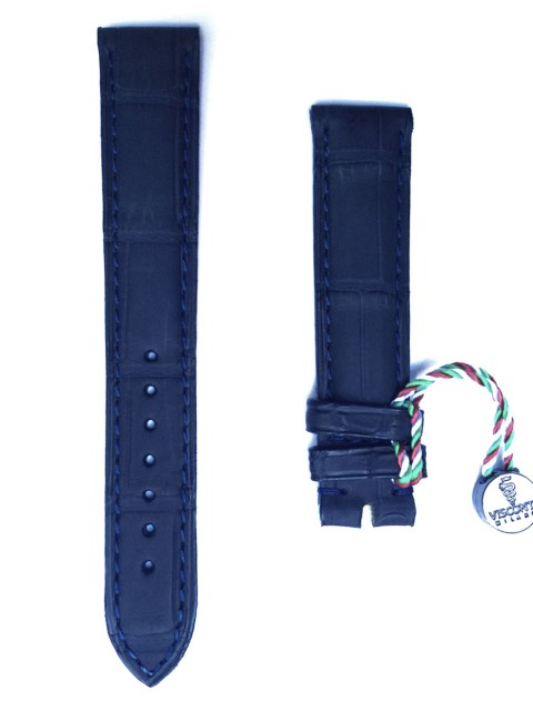 Blue rubberized alligator leather watch strap 18mm Visconti Milano