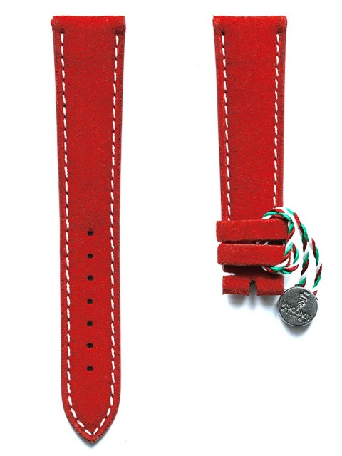 Classic Red Italian Alcantara watch strap 20mm with white stiching and rubberized leather lining
