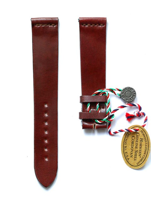 burgundy utra slim shell cordovan leather watch strap 20mm