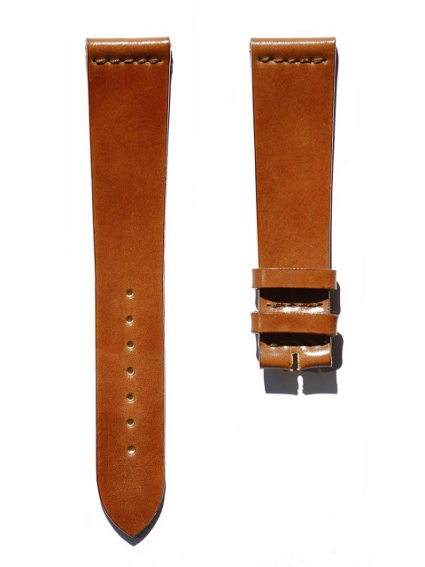 Cognac utra slim shell cordovan leather watch strap 20mm rolex breguet style no lining