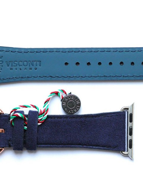 Blue Alcantara Apple Watch strap 38mm