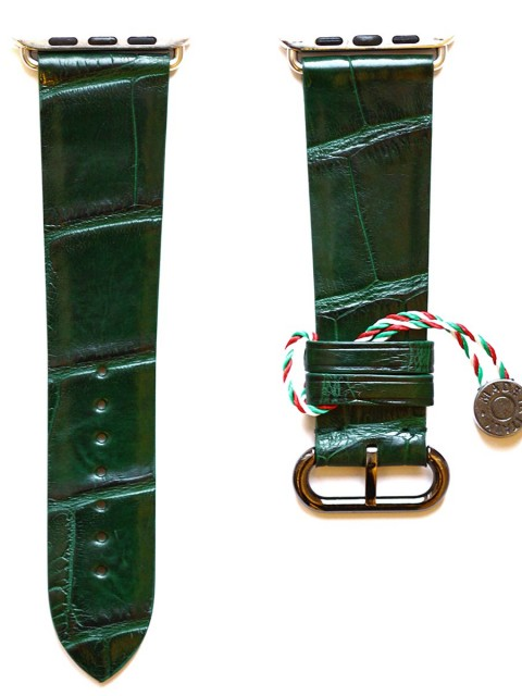 Alligator green Emerald leather bespoke watch strap for apple watch 42mm