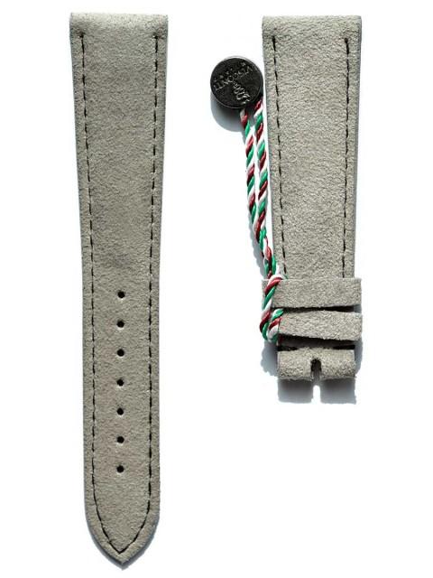 Pearl Silver Medium Italian Alcantara watch strap Patek style