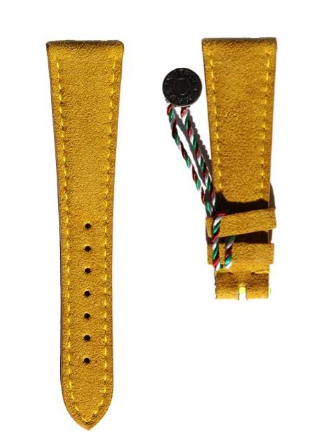 Yellow Gold Italian Alcantara wrist watch strap 18mm 20mm 21mm Patek Rolex Breguet