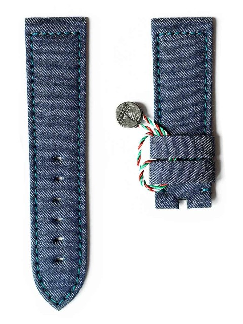 Denim Jeans wrist watch strap replacement Rolex Panerai Patek Jeager Visconti Milano Made Italy Indigo stitching lining