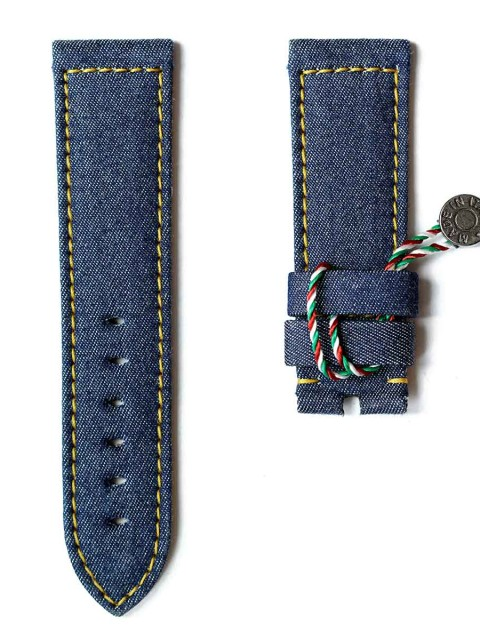 Denim Jeans wrist watch strap replacement Rolex Panerai Patek Jeager Visconti Milano Made Italy Yellow stitching lining