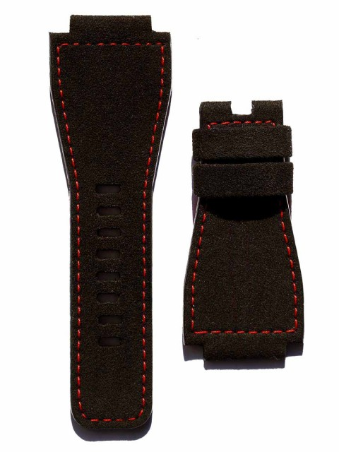 Bell Ross Black Italian Alcantara wrist watch band BR01 BR02 BR03 replacement strap