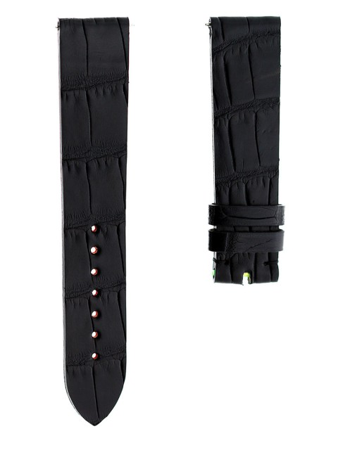 Black alligator watch strap replacement 20mm with fast spring bars