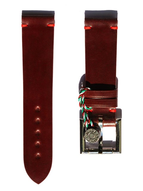 shell cordovan bordeaux leather replacement fixed buckle strap 22mm generic style