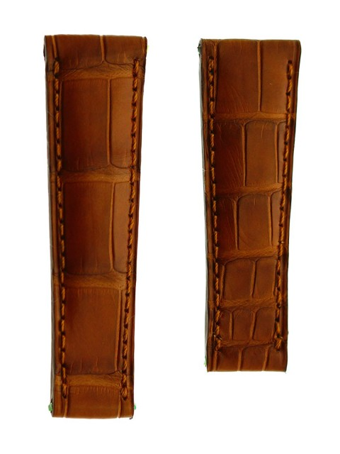 rolex daytona alligator leather watch replacement strap 20mm deployment visconti milano brown