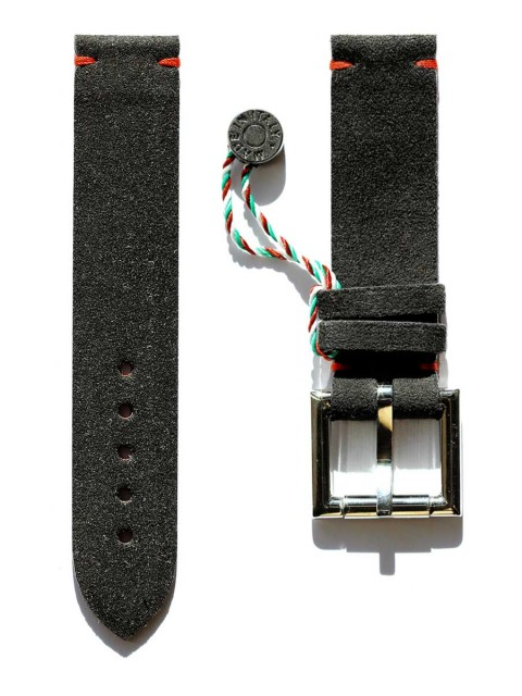 black alcantara watch strap 20mm fixed buckle