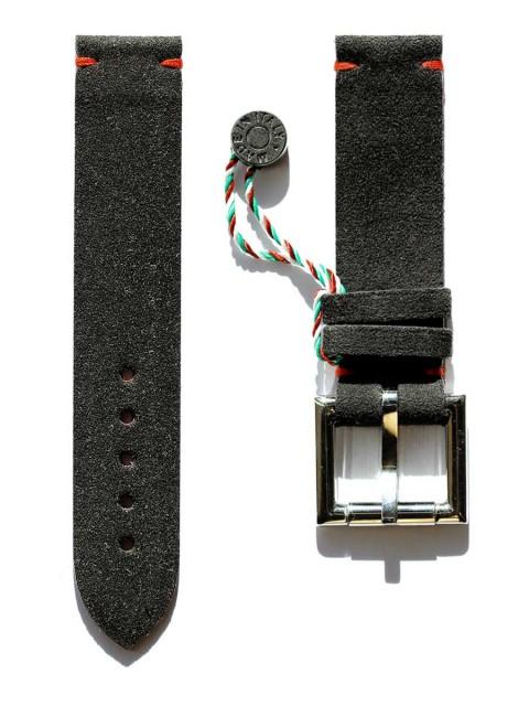 black alcantara watch strap 20mm fixed buckle