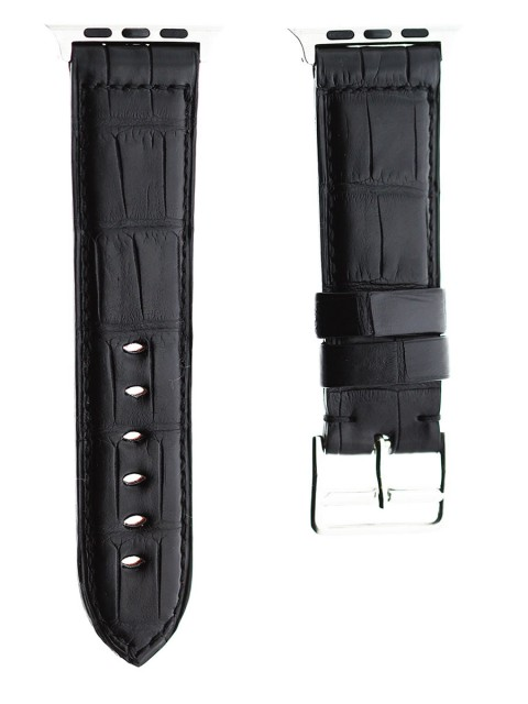 black alligator leather custom apple watch 42mm replacement strap visconti milano