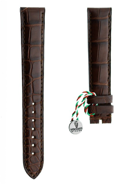 Brown Alligator leather watch strap Visconti Milano 18mm custom made