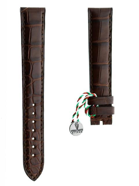 Brown Alligator leather watch strap Visconti Milano 18mm custom made