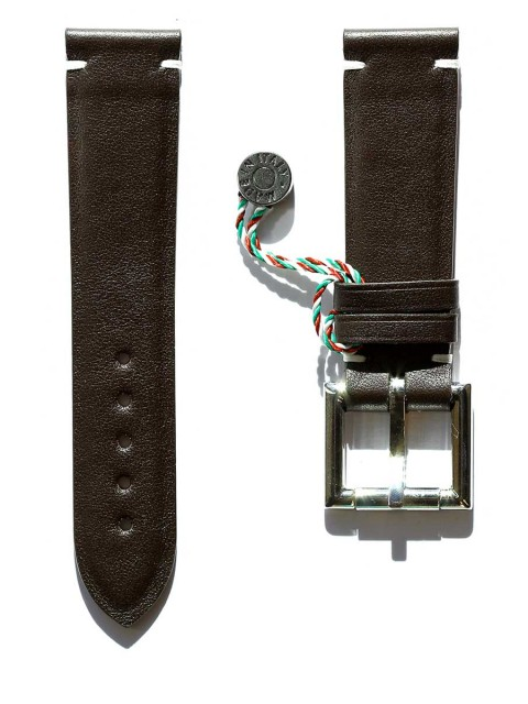 brown calf leather watch strap 22mm fixed buckle