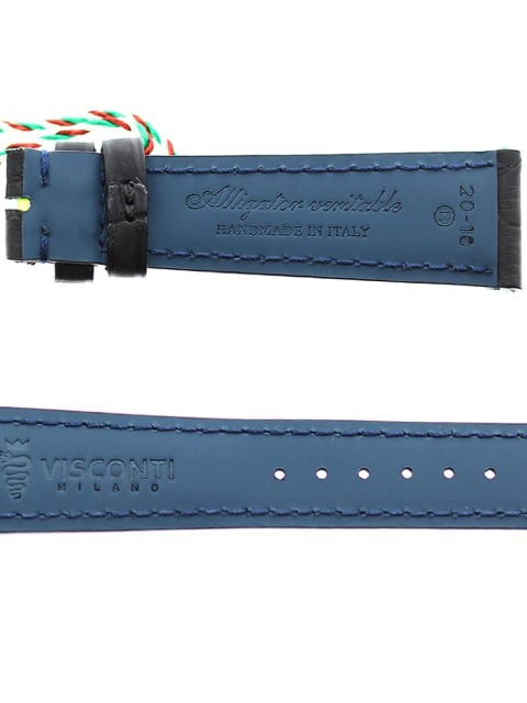 Black rubberized alligator watch strap band 20mm visconti milano made italy