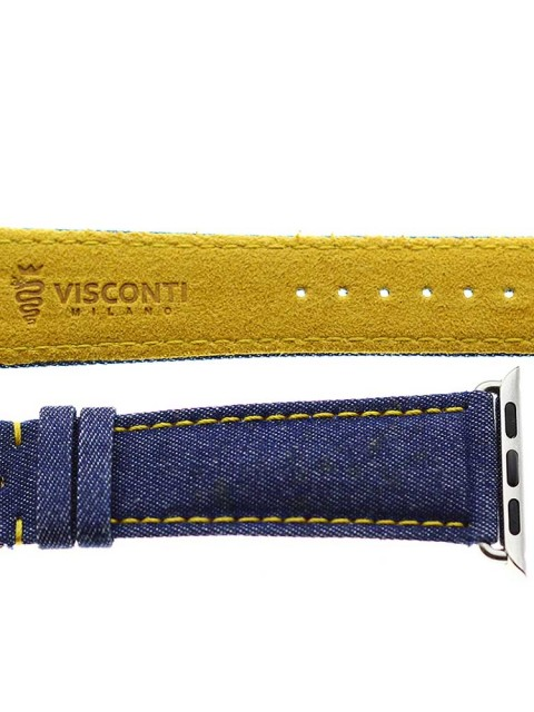 blue denim atch strap apple 38mm vegan alcantara lining yellow stitching