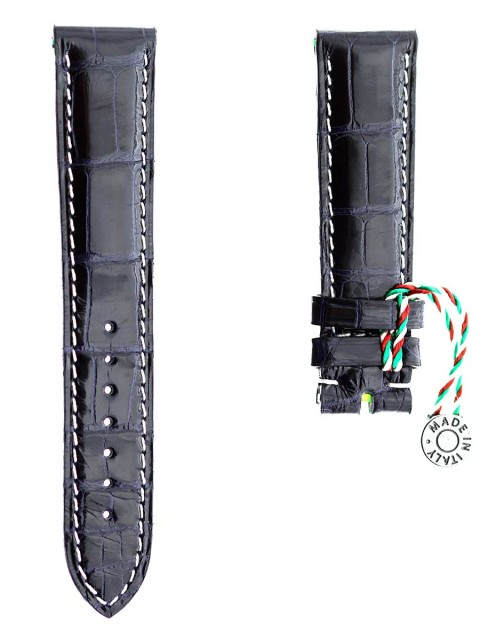 blue petrol shiny alligator leather custom watch strap 20mm by visconti milano made in italy