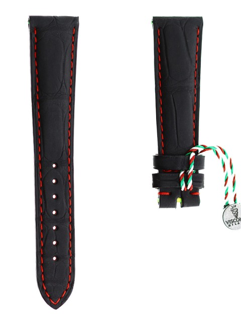 alligator watch strap by visconti milano made in italy back rubberized leather 20mm