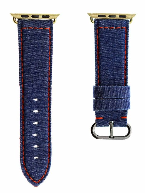 blue denim premium apple watch 42mm strap band series 1 2 made italy red stitching alcantara lining