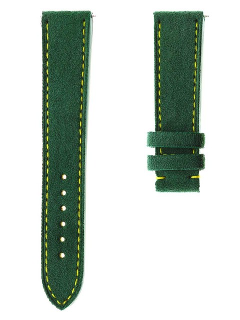 Bespoke Perrelet chronograph big date alcantara green strap made italy handcrafted replacement