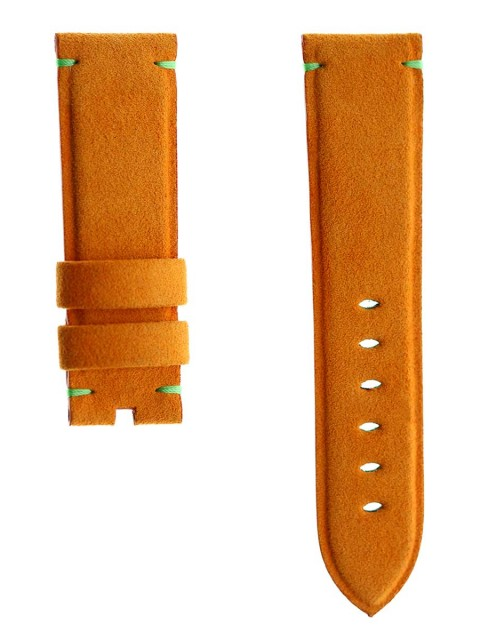 orange carrot alcantara custom watch strap panerai 24mm