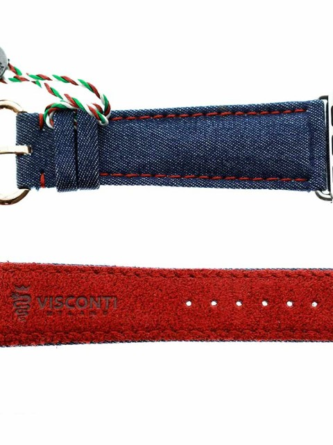 Blue Selected Denim custom watch strap apple watch 28mm series 1 &2 selvedge red Alcantara lining