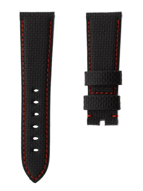 carbon fiber print leather custom made italy watch strap panerai 24mm visconti milano gmt