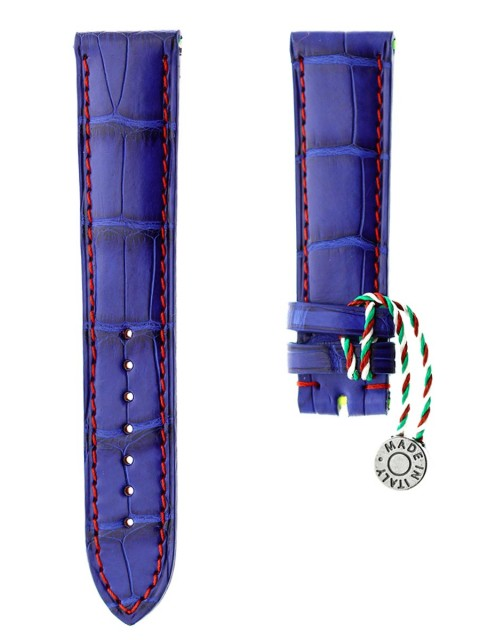 blue electric alligator leather watch strap 20mm replacement rolex custom made italy visconti milano