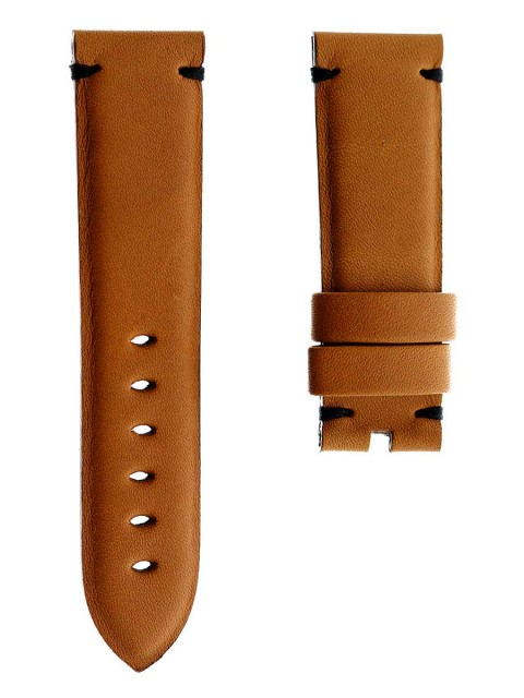 Beige Barenia Leather custom watch strap 24mm Panerai style made Italy Visconti Milano