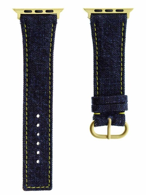 japanese denim commando apple watch strap band 42mm yellow stitching