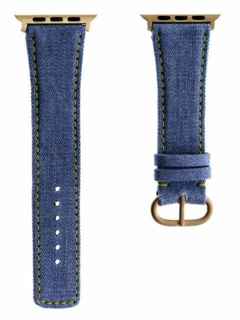 japanese denim lambada apple watch strap band 42mm yellow stitching