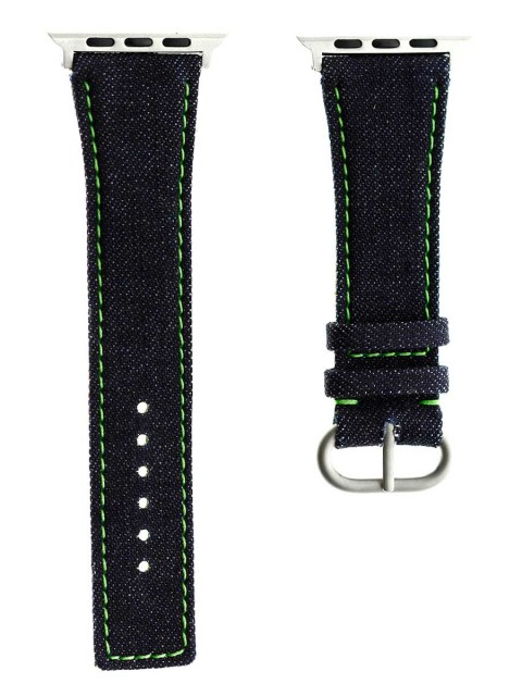 japanese denim tokyo apple watch strap band 42mm green stitching
