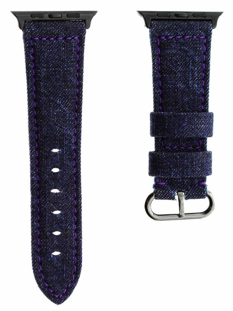 japanese denim tokyo apple watch strap band 42mm violet stitching
