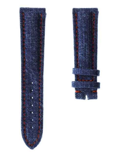japanese denim kurabo selvedge strap made italy visconti milano breitling 21mm blue