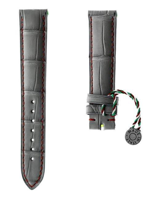 grey alligator leather watch strap visconti milano made italy patek philippe style 18mm 20mm